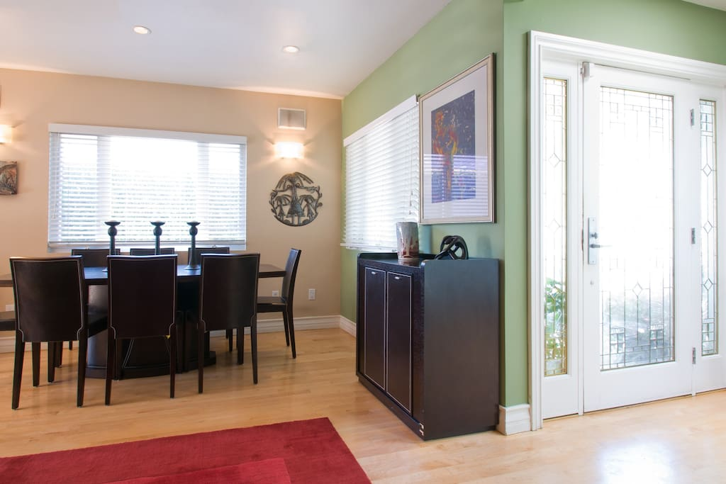 Dining Area with Dry Bar and Leaded Glass Front door