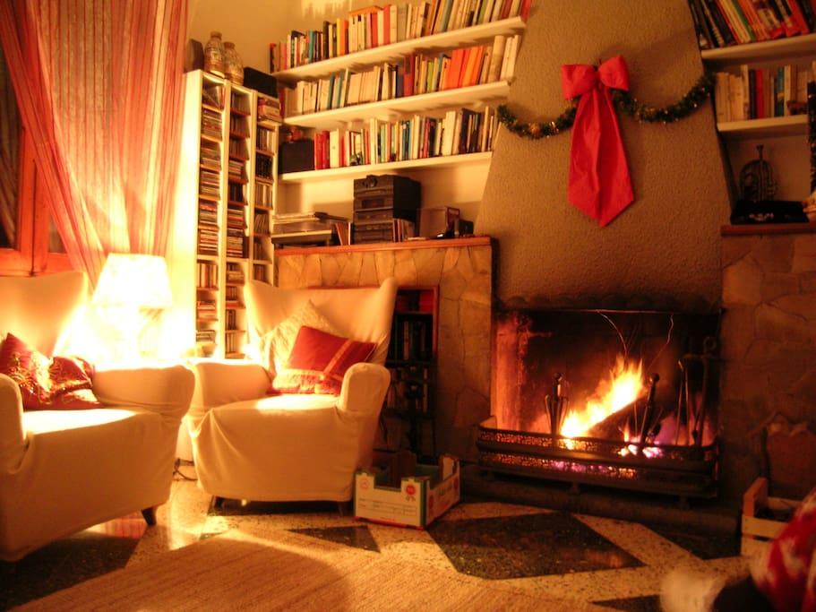 Il caminetto in inverno