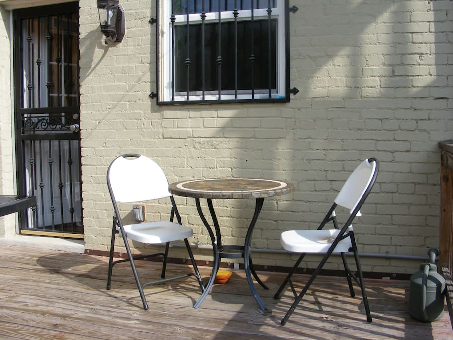The deck is great for a coffee or a drink