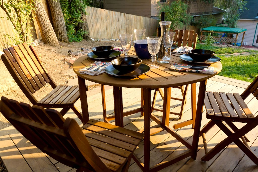 Dinner on the deck can be an intimate affair.