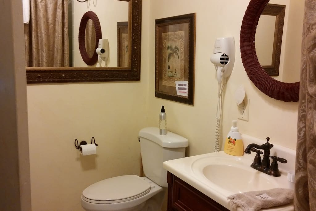 Private bathroom in room.