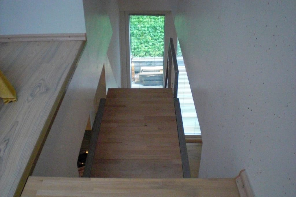 Looking down the stairs from bedroom 2
