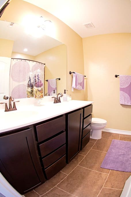 Double sink, full size shower bathroom located downstairs