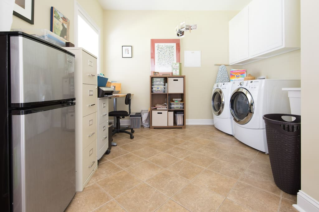 Adjacent to Private BR&Bath is the laundry room, you have a mini-fridge at your disposal.