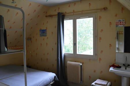 chambre simple, lit double et lavabo, vue jardin - Rumah