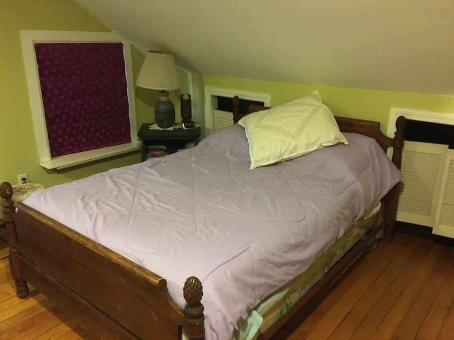 Double bed, sloped ceiling that seems to put everyone into deep sleep!
