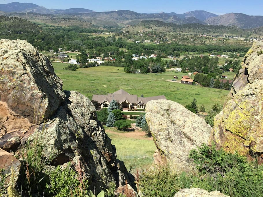A guest took this photo of our home standing on the rocks of the Devil's Backbone.