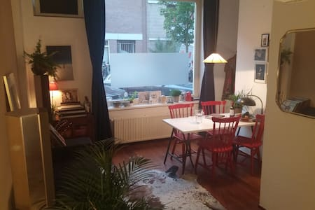 A beautiful room where you can enjoy some rest while you're visiting Amsterdam! After a busy day you can have dinner in our garden or relax and take a bath upstairs. We live near a park while we also have a few very good bars on walking distance.