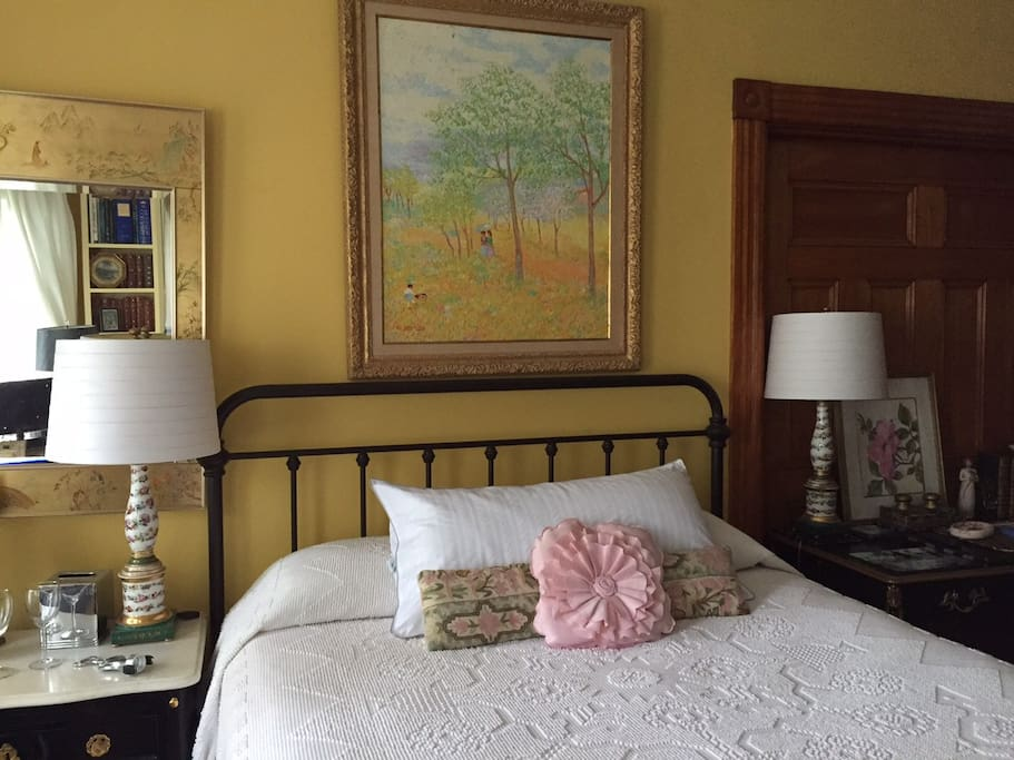 the art over the bed will remind you of France