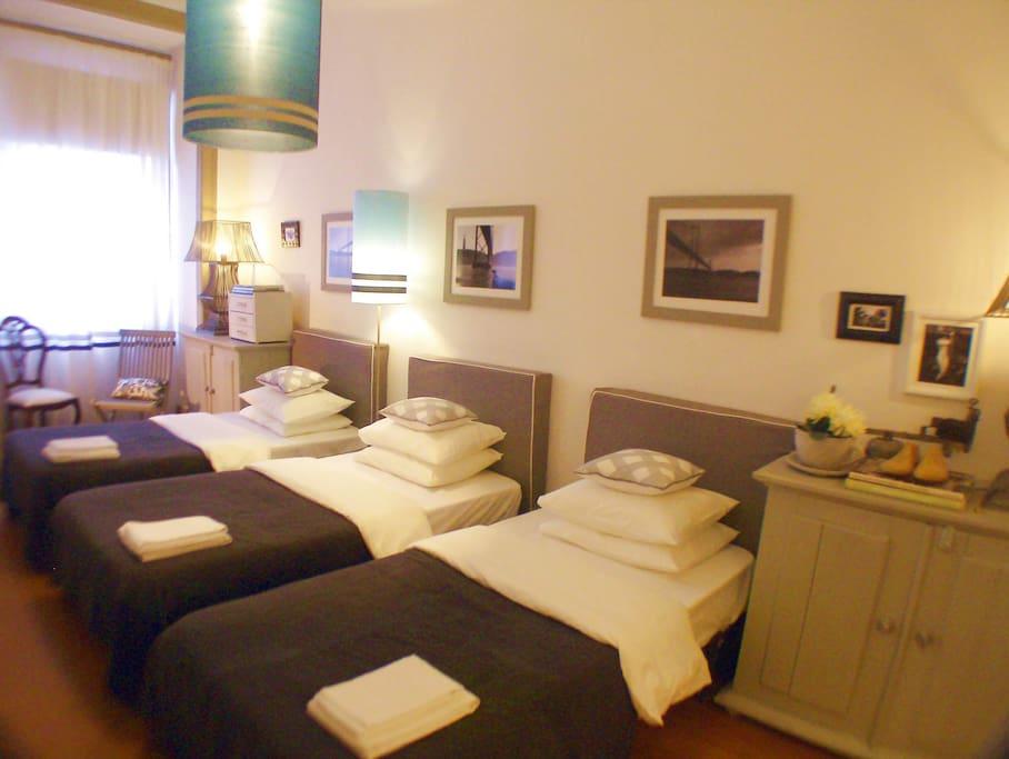 Triple bedroom: 3 single beds