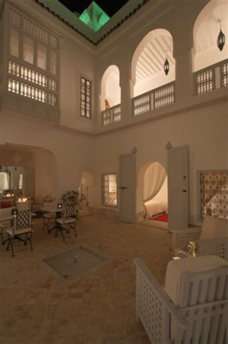 The Riad courtyard by night