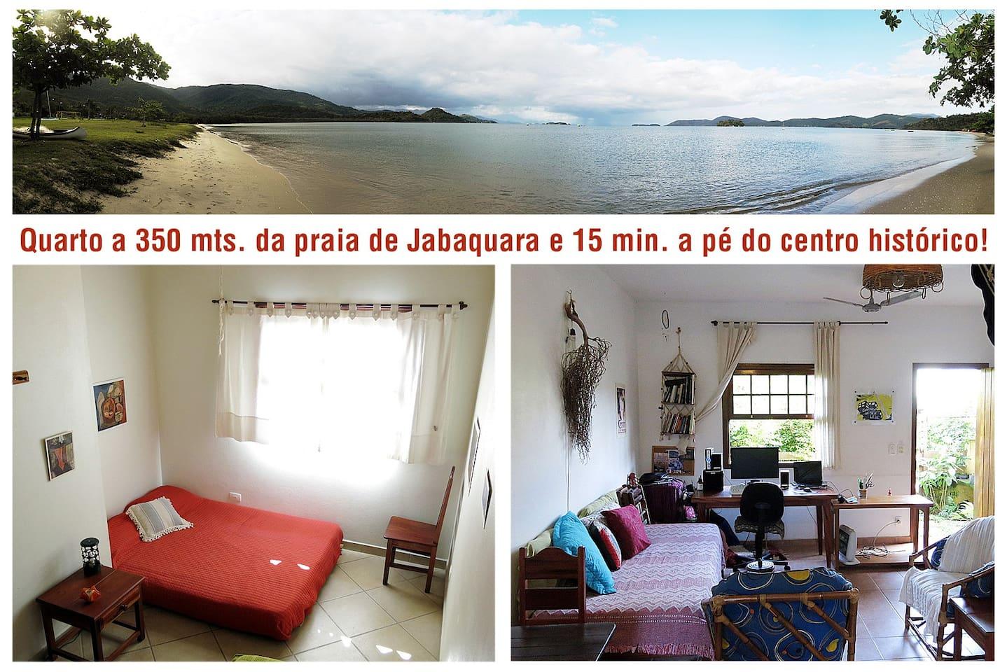Quarto ate p 4 pessoas a 350 mts. da praia de Jabaquara e 15 min. a pé do centro histórico!