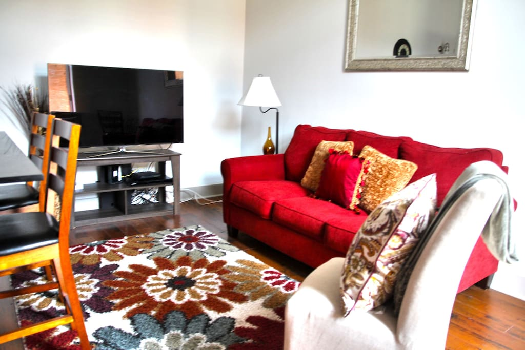 Smart TV with Plenty of Comfortable Seating