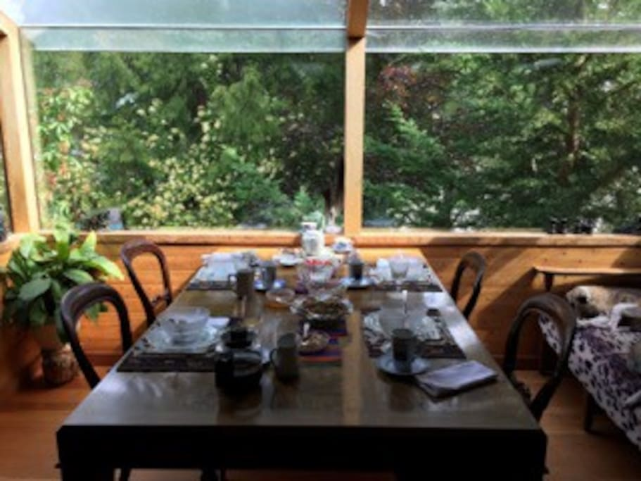 enjoy organic breakfasts - farm fruit, yogurt, your choice of homemade granola, french toast, pancakes, farm eggs, and fresh pressed juice.   Coffee or tea any time at your request.