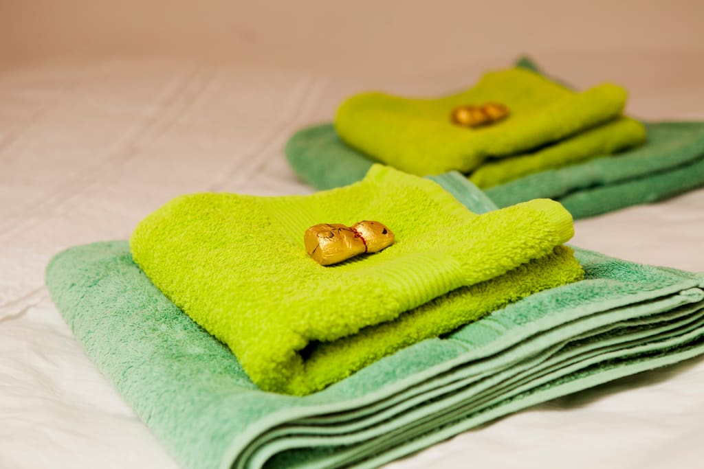 Towels are provided (and always a wee something on your towel bale). Larger bath sheets also available.