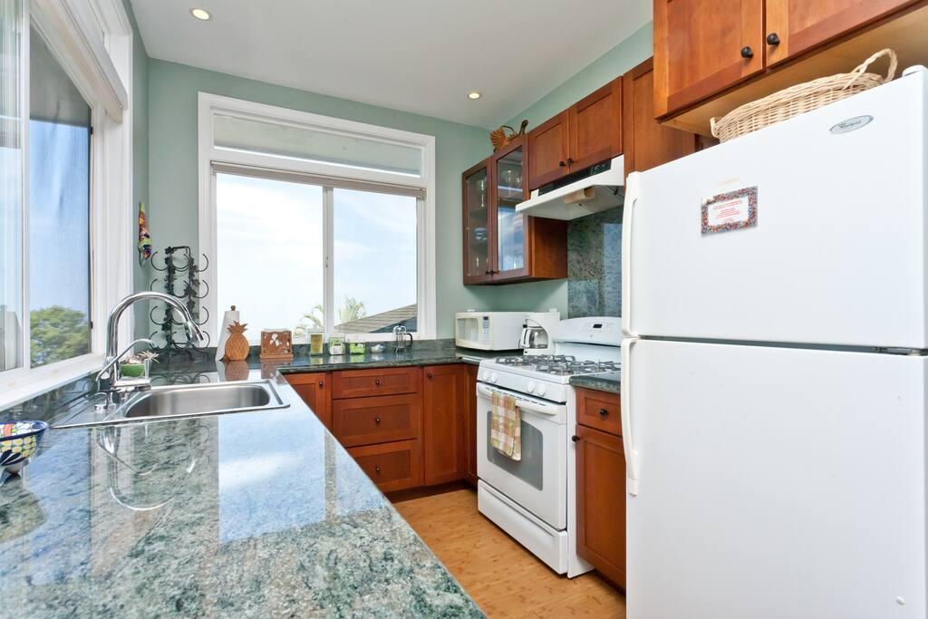 Kitchen with ocean views
