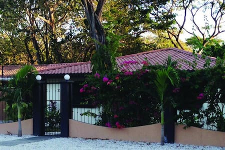 This beautiful three bedroom two bath is located in one of the most quiet and nice residentials areas between Flamingo and Potrero Beach. The house have private pool and a comfortable Tiki Palapa next to the pool to relax or have dinner outside.