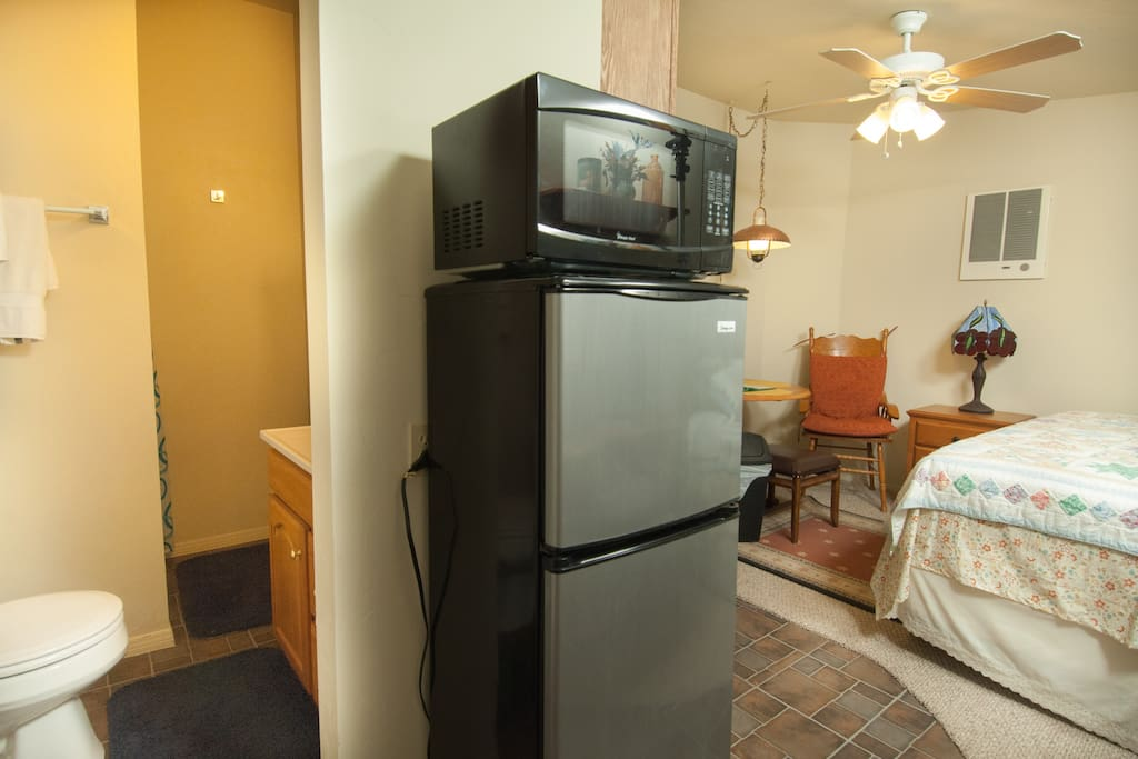 A microwave oven and a refrigerator inside main room.