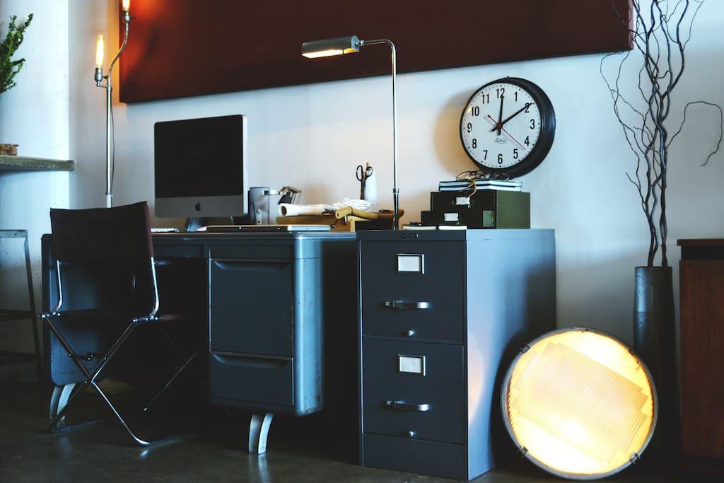 Digital design studio featuring 1948 Raymond Loewy Desk