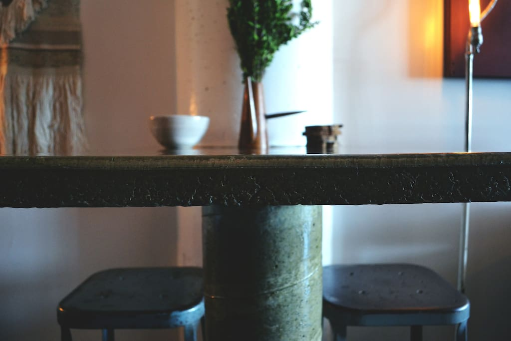 Hand-poured industrial concrete kitchen table