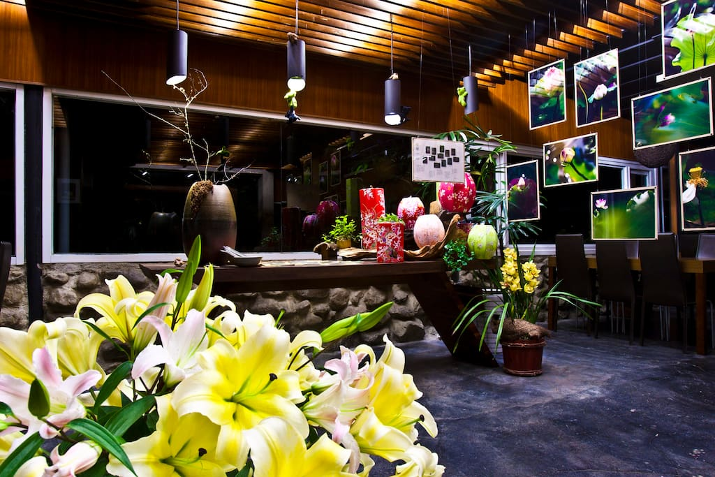Our restaurant lobby with exhibition of lotus!