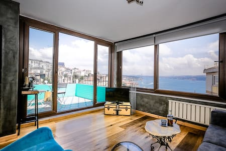 Gorgeous bosphorus view 50m2 one bedroom apartment with terrace
