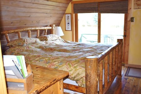Rustic Log  Cabin Large upstairs Suite w/ balcony - House