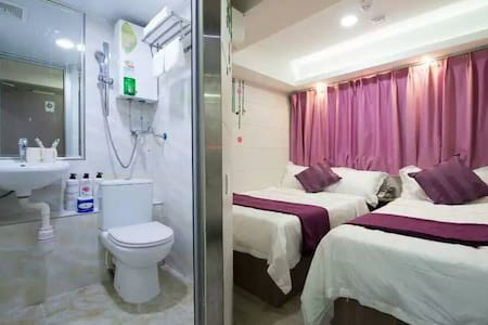 1)Security door lock 2)Quite Room 3)Soundproof Window 4) Free Wi-Fi 5)New room 6)24 hours hot shower water 7)Hotel License approved 8)  1 double bed, 1 single bed, private en suite.