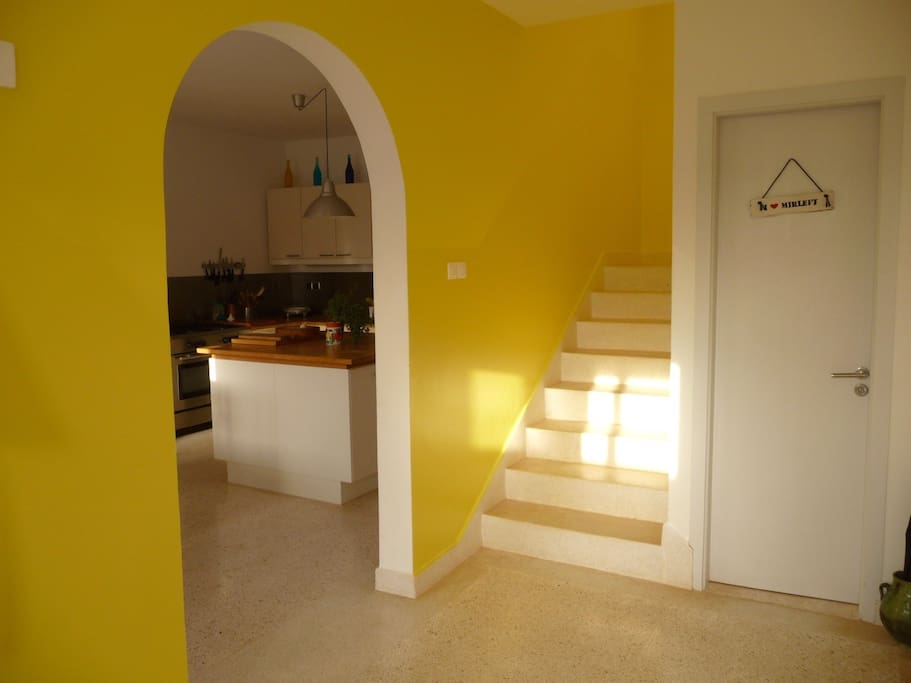 Canary yellow hall and stairwell