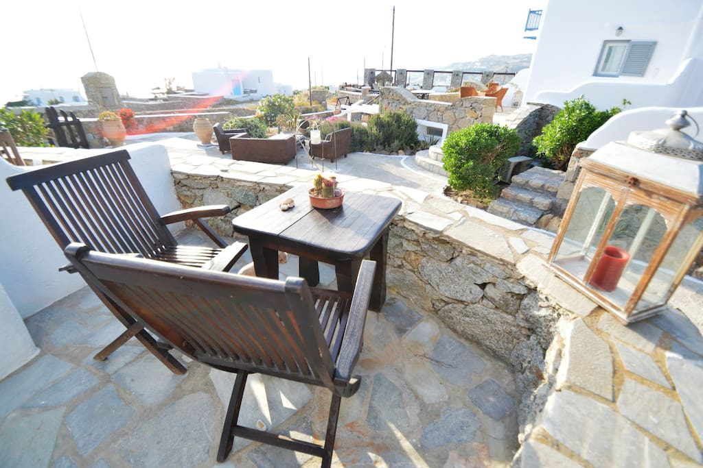 Private terrace with sunset sea views