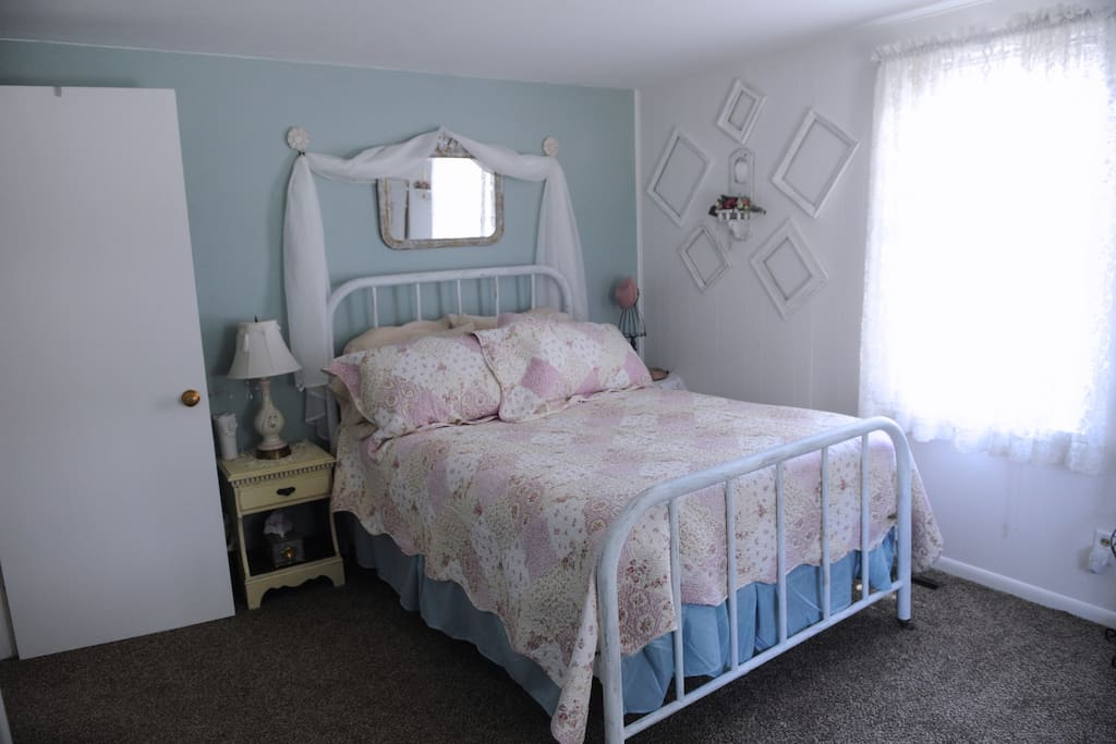 Vintage bedroom with Double/Full size Antique bed