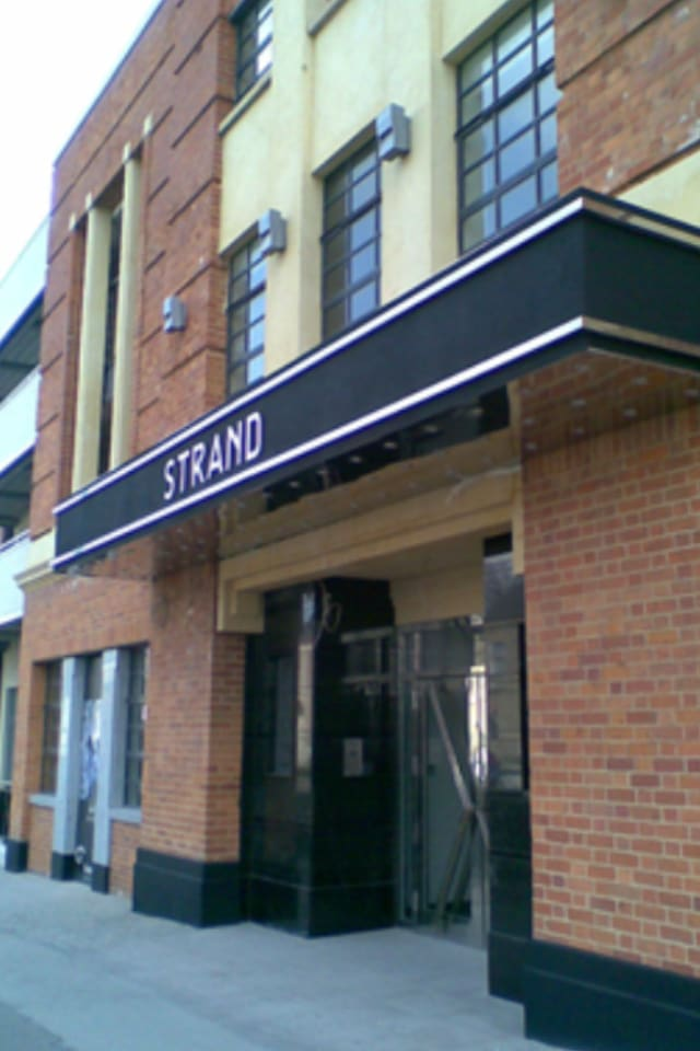 This is the original 1930s facade of the old Strand Cinema.