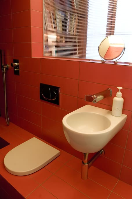 OUR SMALL RED BATHROOM: for guests use only: shower, wc, sink. Boiler 50 liters