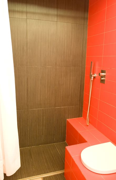 OUR SMALL RED BATHROOM: SHOWER FOR GUESTS USE ONLY. Boiler 50 liters. Includes also hairdryer