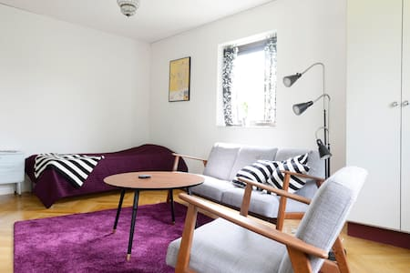 2 Room nice apartment 100m to train station, (7 min to Lund C, 25 min to Malmo C).  Comfortabel apartment with a balcony. Nice surroundings, free parking and wi-fi.  The apartm. is in a small village outside Lund, with a kiosk and pizzeria.