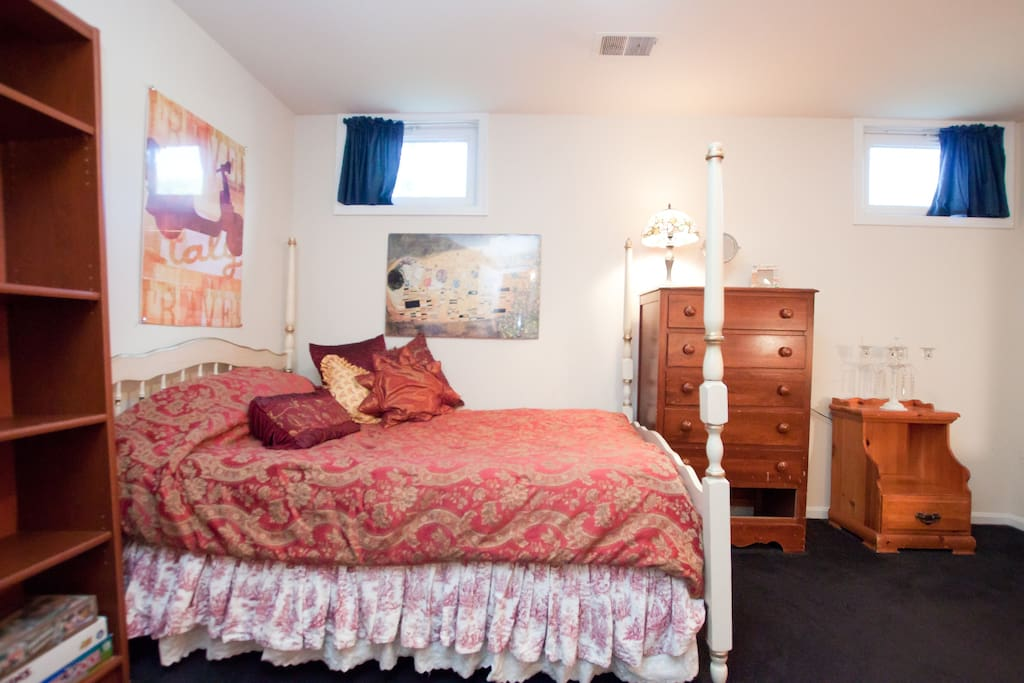 Bedroom ~ bed is now new, the white brass bed pictured below - pretty tiffany lamps.
