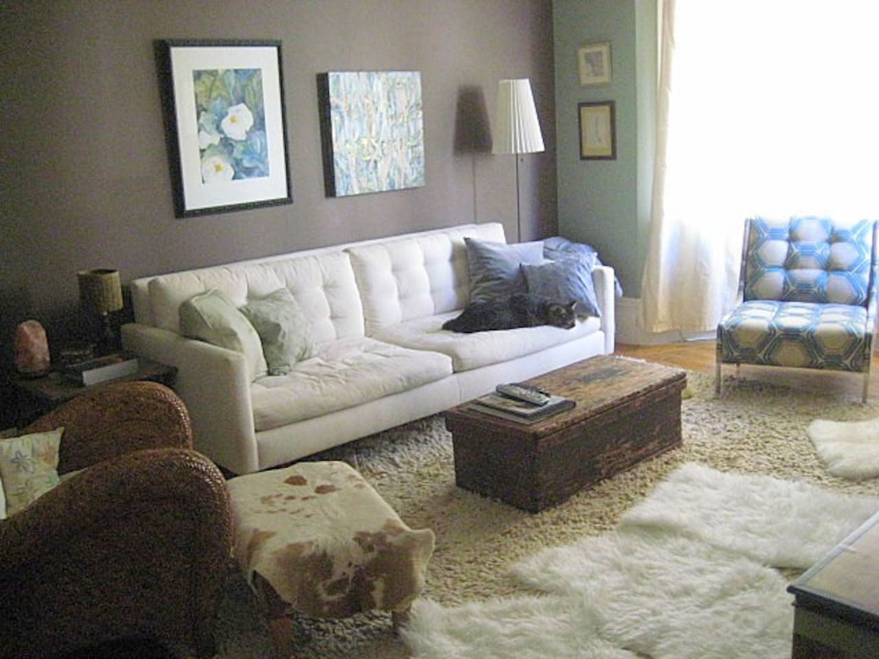 Big bright living room!  Your Zen retreat in the heart of the bustling city.