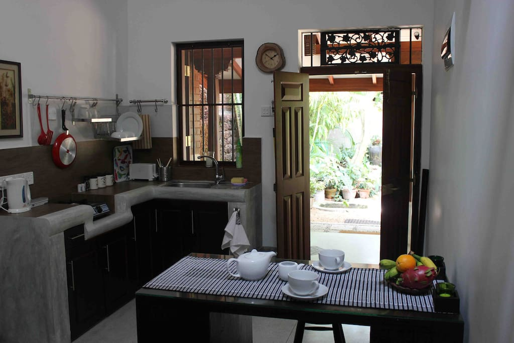 Dining area with a view of the front garden