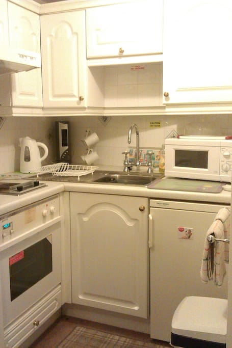 Kitchenette. Oven, microwave, toaster, stove plates (2), Kettle, Fan, Fridge (small freezer inside)