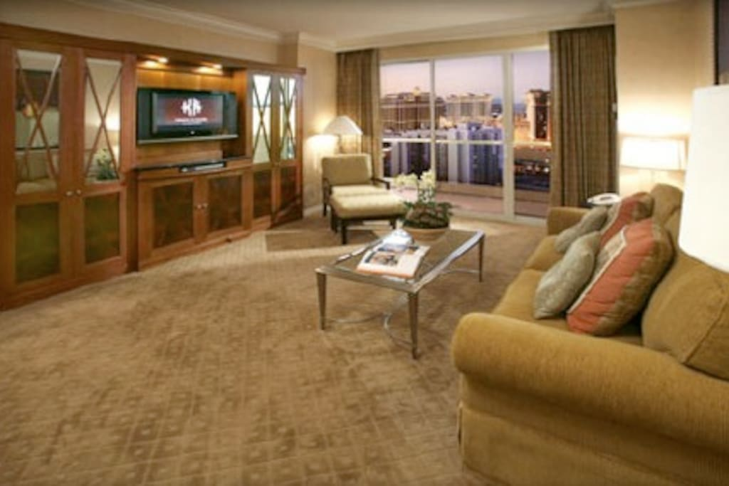 Living Area w/ Sofa Sleeper & Balcony