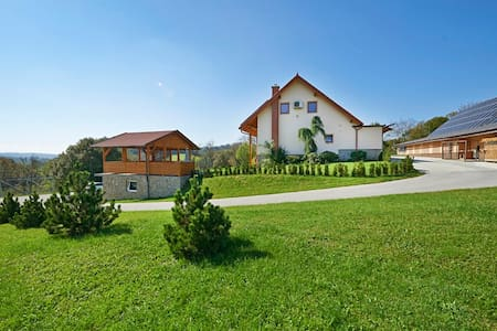 A large farmhouse on a hill with picturesque views, 4 bedrooms and 2 bathrooms, is located near Rogaska Slatina and Rogla ski resort. There are deers, sheeps, rabbits on the farm, hiking routes and other activities.For all, who like nature and relax.