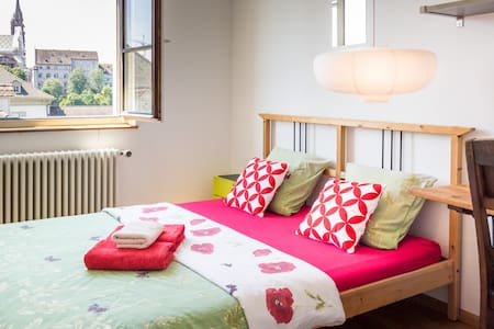 Cozy room with an amazing view in a quiet apartment in Kleinbasel - historic part of Basel. One block from the Rhine - beautiful promenade, water powered ferry, swimming. Good access to main train stations, restaurants, cafes, shops, culture, expo.