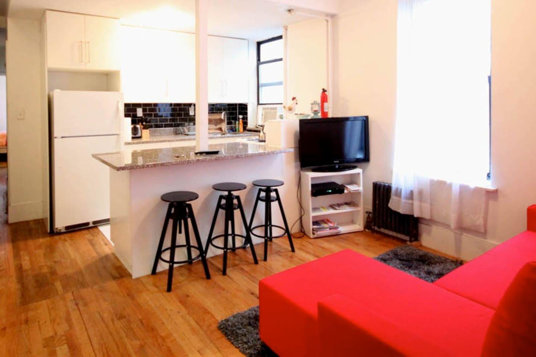 KITCHEN + LIVING ROOM + SOFA BED
