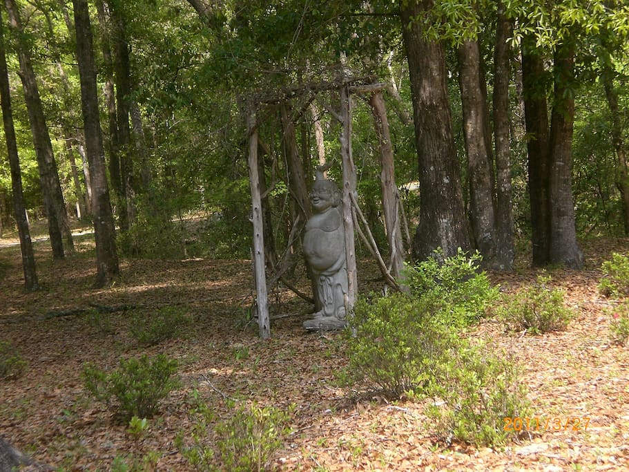 Laughing Buddha in the meditation garden