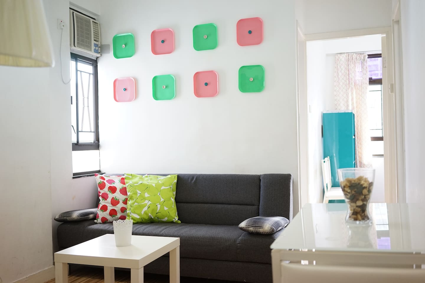 Spacious And Bright Living room, fancy colourful decoration