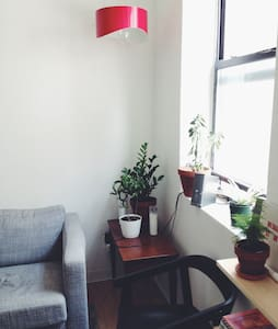 Simple, quiet, tucked away loft on a gritty block in Chinatown. Great for a couple who wants to explore a cool area.  Easy walk to Tribeca, Lower East Side, Soho, and multiple subways.   The bedroom has A/C, rest of the apartment fan only.