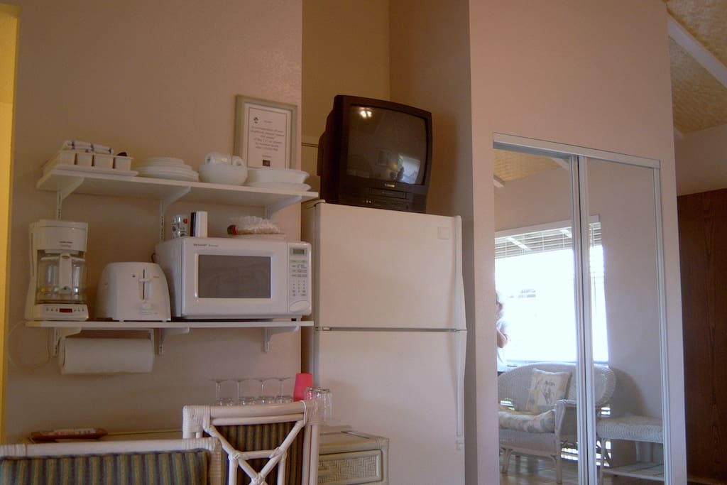 Full size fridge, microwave, TV and other amenities