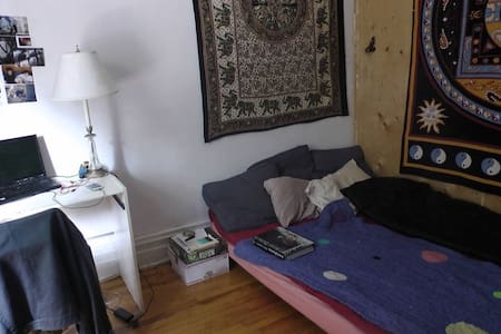 hi, this is a really nice, sunny  room on hutchison, close to st viateur. there's a tree outside the big window. the apartment is nice and a good place to hang out, with a big kitchen and two sofas in the living room. there is a big dog and cat.