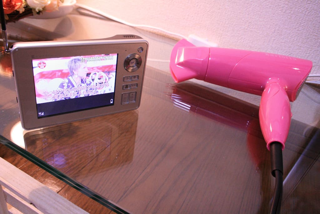 There is a portable TV and a hair-dryer in your room.