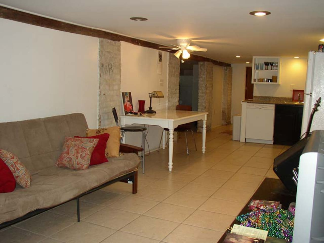 Open living room, dining area, kitchen